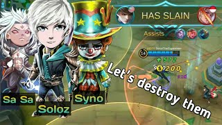 Soloz ft. Syno and Sasa dominating the game | Soloz Gusion Gameplay