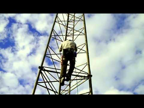 Chris Alty Climbs 100FT Antenna Mast #1