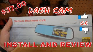 Amazon/Dash cam install and review 1080p dual camera rear view mirror display