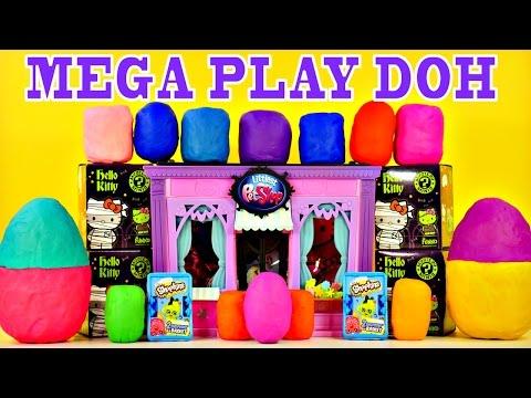 Mega Play Doh Surprise Eggs Toys Frozen Spongebob LPS MLP Barbie Cars Shopkins Hello Kitty Superhero