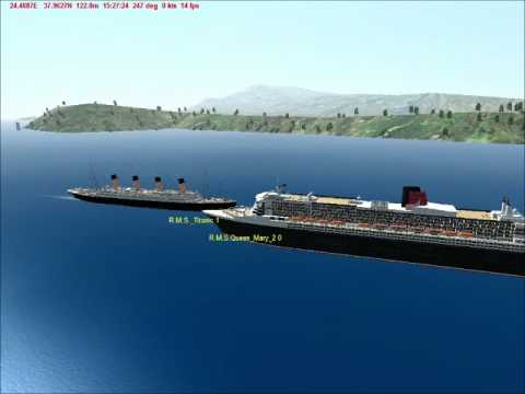 RMS Titanic  RMS Queen Mary 2 Horn Battle - Virtual Sailor 7