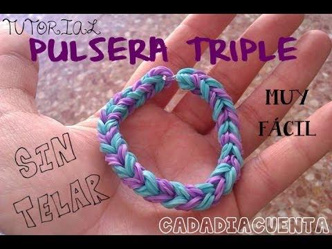 MUY FÁCIL tutorial para hacer pulsera TRIPLE con gomitas elásticas del pelo o ligas (sin telar)