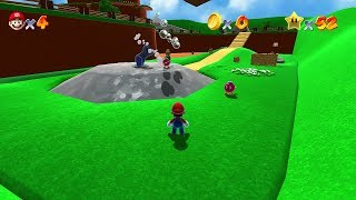 Super Mario 64 HD Remake Continued - Peach's Castle, Bob-omb Battle Field and Whomp's Fortress
