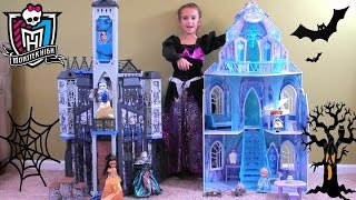 Princess Story: Disney Frozen Anna and Elsa at Monster High Halloween Party, Anna and Elsa Dolls