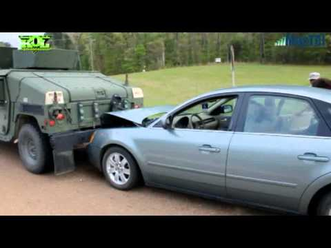 Military Vehicle and Auto Collide