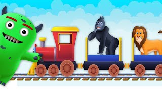 Monday Monster Toy Train | Learn Wild Animals Names | Learning Videos for Kids