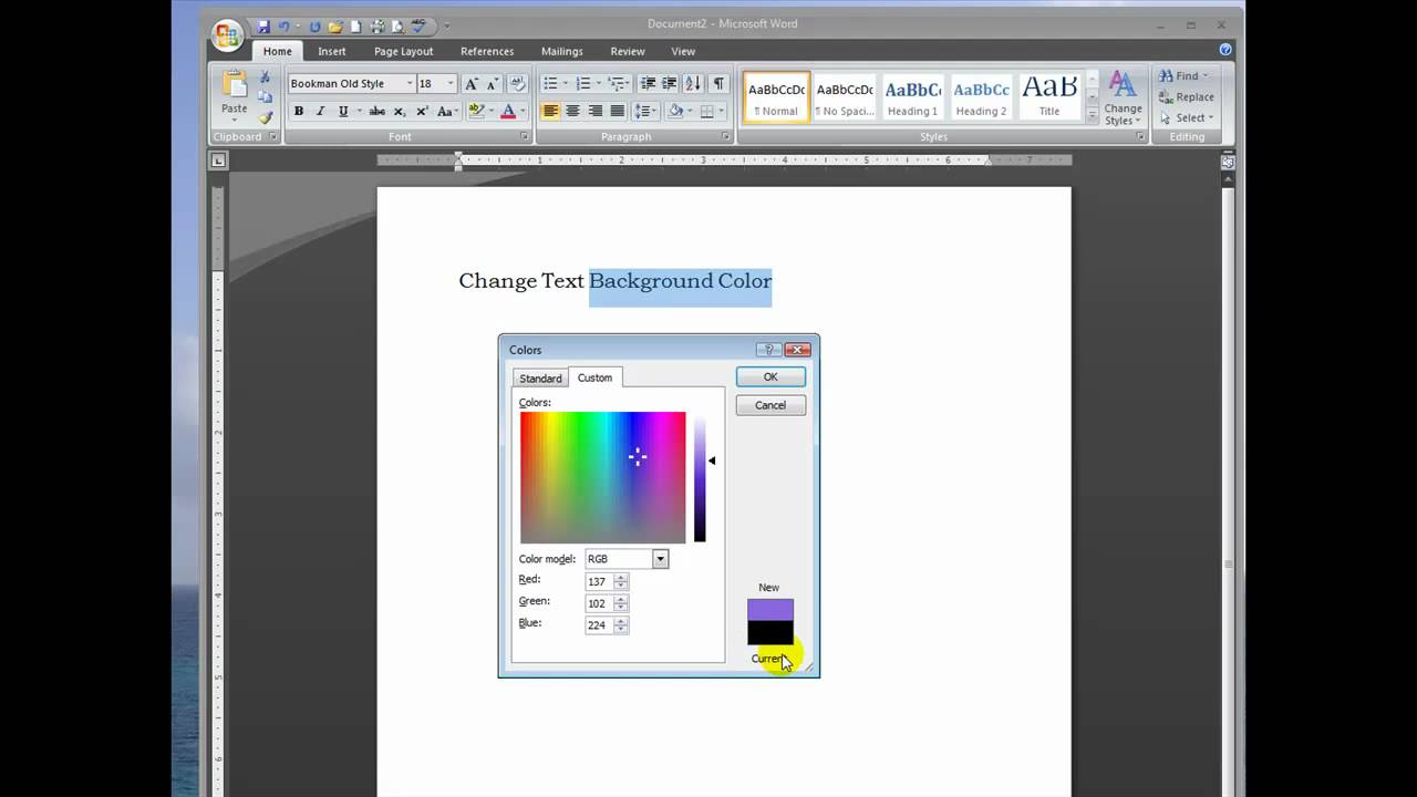how to delete the background color in word 2007