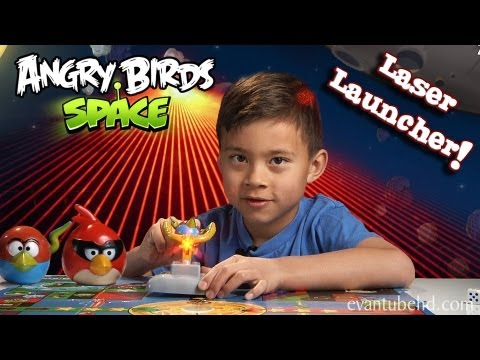 Angry Birds Space LASER LAUNCHER Toy - EPIC Red Laser Destruction!!!