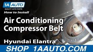 How To Install replace The Air Conditioning Compressor Belt 2001-06 Hyundai Elantra 2.0L