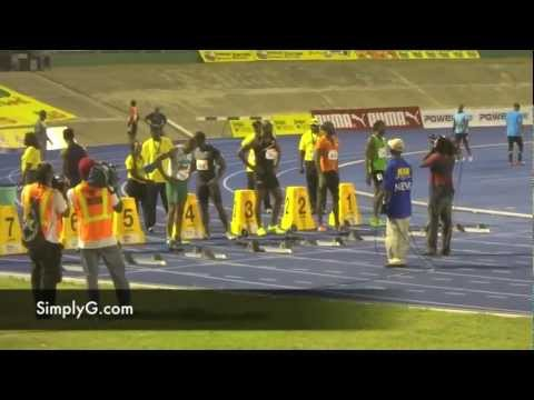 Men's 100M Quarterfinal with Asafa Powell, Jamaica National Championship Meet 2012