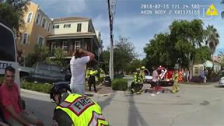 Delray Beach Police officer traffic crash body cam footage