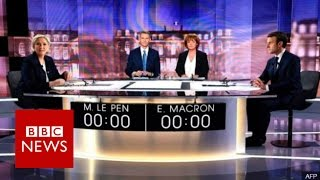 Le Pen and Macron clash in crucial French election debate - BBC News