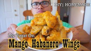 My Twist On:  MANGO HABANERO WINGS |DIY HOMEMADE | MUKBANG | QT