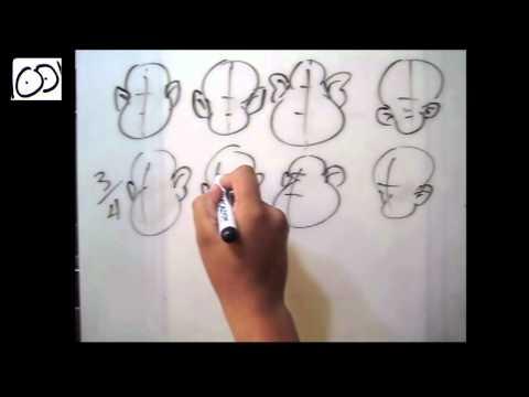 Dibujo Caricatura - dibujar cabeza de frente, 3/4, perfil ( por: Cartoonarte )