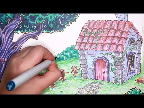 """Speckle"" Cottage Scene - FREE Colouring Page Available"
