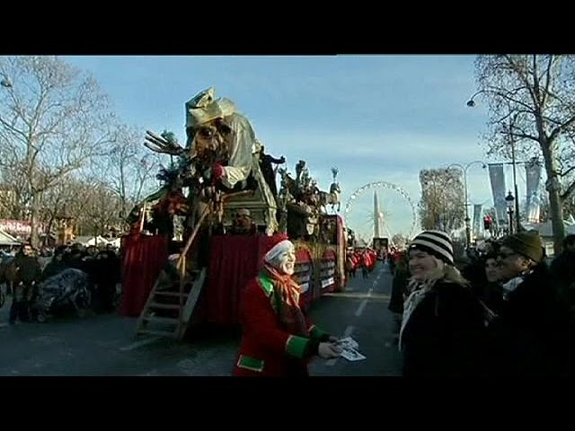 Thousands turn out for Paris New Year Parade
