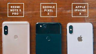 Redmi Note 5 Pro vs Pixel 2 vs iPhone X | Ultimate Camera Comparison!