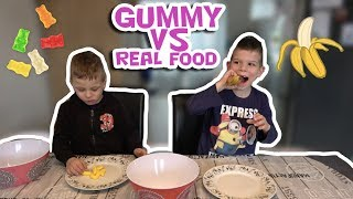 GUMMY VS REAL FOOD CHALLENGE !! - KOETLIFE VLOG #706