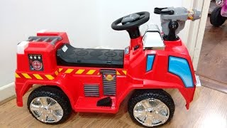Red Fire Engine Ride On Car Walkaround | Kids Power Wheels Playtime Fun Review