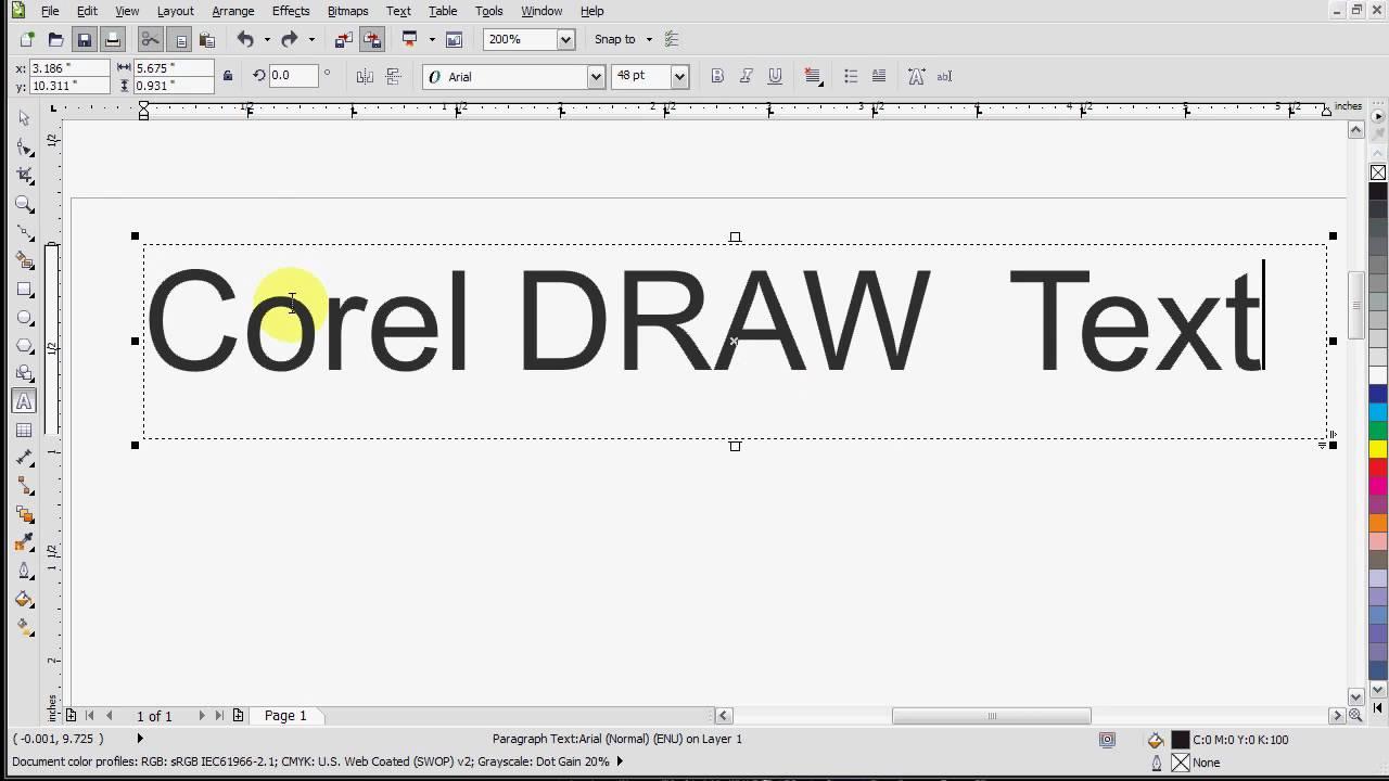 Corel Draw X5 Text Tutorial - YouTube