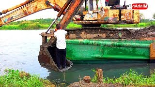 Excavator Videos | Excavator Busy Working On The River ♫ Song for Kids Dance