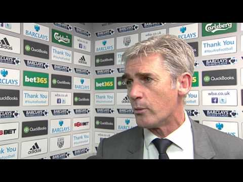 Alan Irvine reacts to the 2-2 Premier League draw between West Bromwich Albion and Manchester United