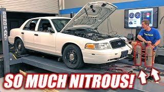 GIANT NITROUS SHOT vs. Retired Cop Car! *Glorious Explosion*