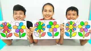 KuMin Kids Go To School Learn Coloring 2 flowers at Classroom Funny