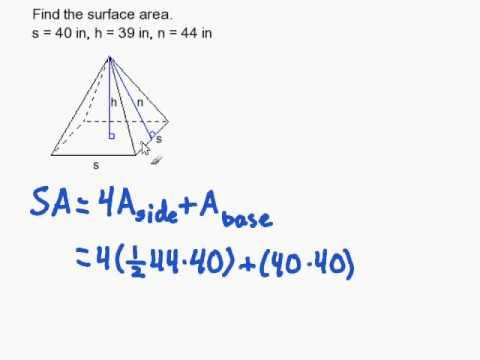 How To Find The Surface Area Of A Regular Pyramid Youtube