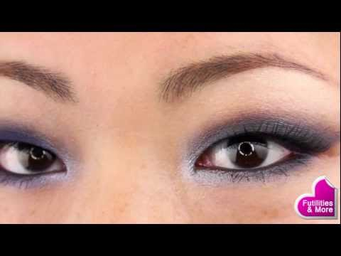 Navy Smoky Eyes Makeup Tutorial - Using drugstore products only! For asian monol