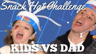 SNACK HAT CHALLENGE!!! DAD VS KIDS - WHO EATS FASTER!! For kids