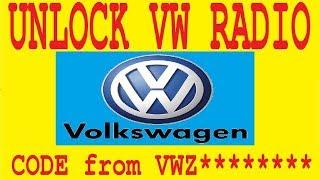 unlock code radio vw