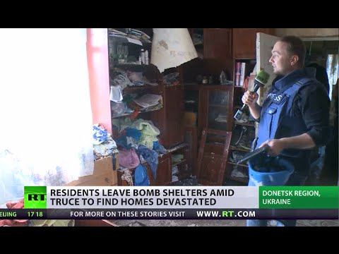 Devastation: E. Ukrainians cautiously return to bombed homes amid shaky truce