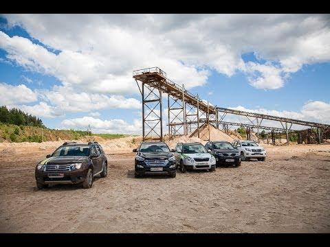 Toyota LC Prado, Hyundai Santa Fe, Renault Duster, Kia Sorento, Skoda Yeti: большой песчаный тест