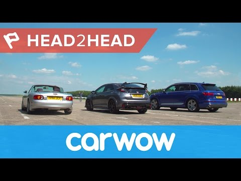 Audi SQ7 vs Honda Civic Type R vs Mazda MX-5 drag race | Head2Head