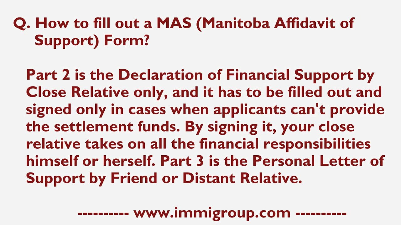 How To Fill Out A Mas Manitoba Affidavit Of Support Form