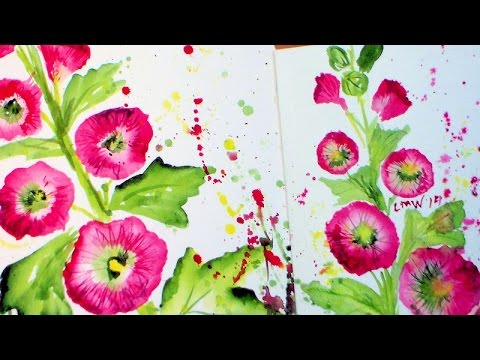 Easy Hollyhock Watercolor Painting Tutorial