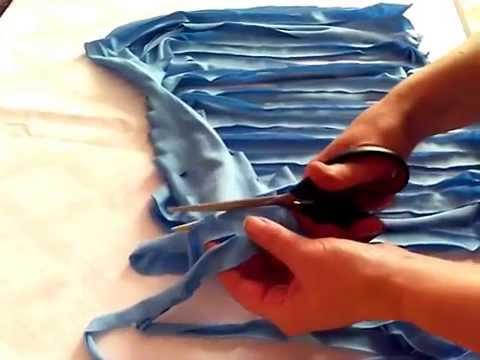 как сделать пряжу из майки без узелков.