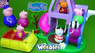 Peppa Pig Weebles Toys Sleepover at Granny and Grandpa's Play House Pyjama Party Suzy Sheep PJ Toys