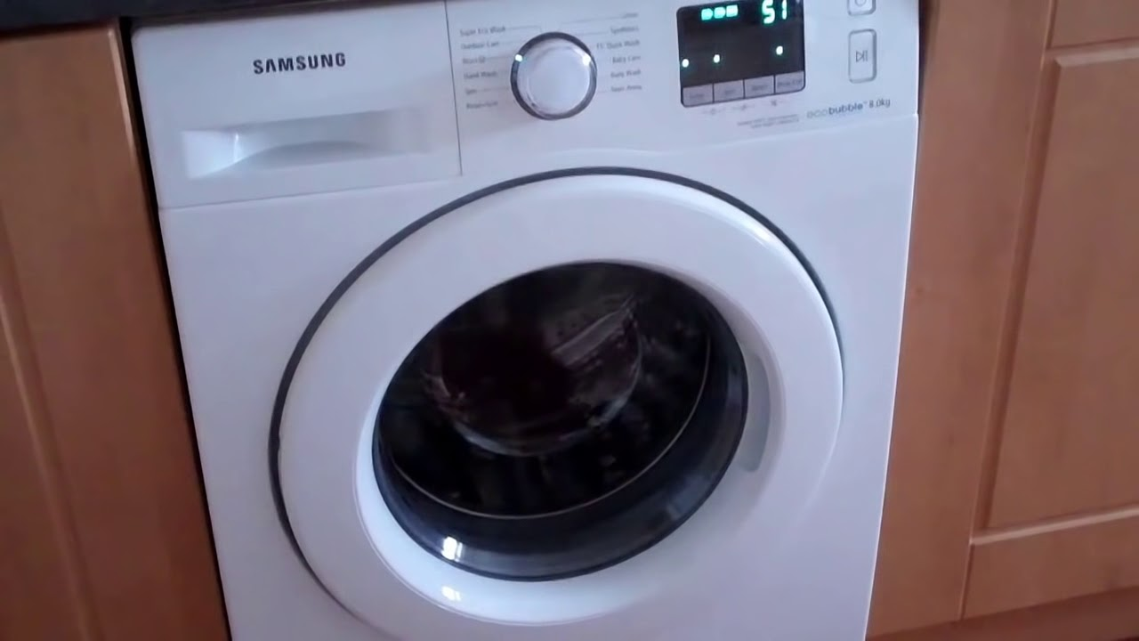 samsung ecobubble washer 8kg 1400rpm a wf80f5eow4w youtube. Black Bedroom Furniture Sets. Home Design Ideas