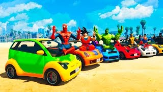 FUN COLOR SMALL CARS FOOTBALL With SUPERHEROES Cartoon For Kids and Babies