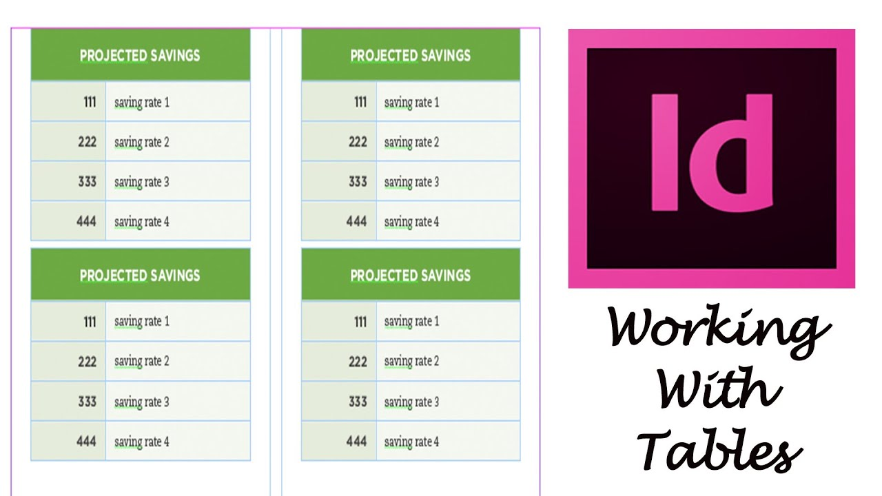 Adobe indesign cs6 tutorial working with tables youtube for Indesign table
