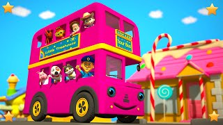 Pink Wheels On The Bus | Kindergarten Nursery Rhymes & Songs for Kids