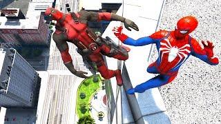 GTA 5 Deadpool Vs Spiderman (Jumps,Falls,Fails) Ragdolls Compilation