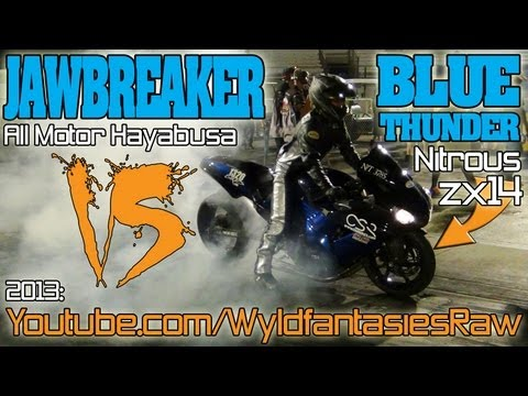 BLUE THUNDER zx14 vs JAWBREAKER Hayabusa grudge racing 2013