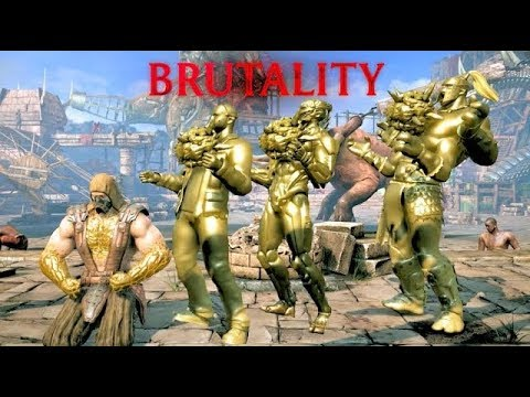 Mortal Kombat XL Tremors Gold Statue Brutality on All DLC Characters