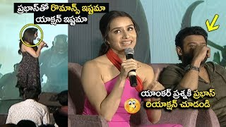 Prabhas SHY Reaction on Anchor Question | Saaho Team Media Meet | shraddha kapoor | Filmylooks
