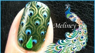 KONAD STAMPING NAIL ART | EMERALD PEACOCK NAILS DESIGN - Green Tutorial Fashion Easy Simple