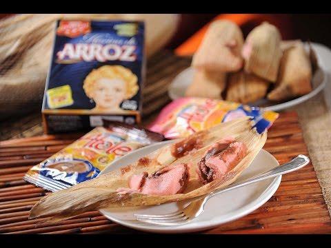 Tamales de fresa con relleno de chocolate