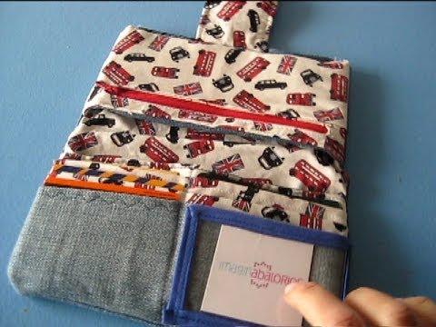 Como hacer una cartera monedero de tela costura youtube - Como forrar una caja con tela ...
